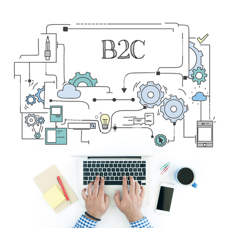 b2c: Man using laptop on workplace and B2C concept