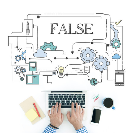 dishonesty: Man using laptop on workplace and False concept