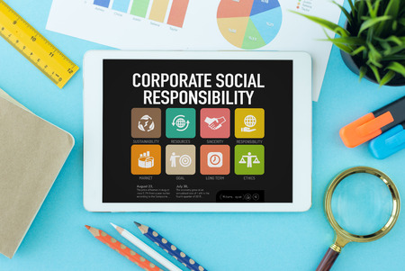 long term goal: Corporate Social Responsibility Concept on Tablet PC Screen
