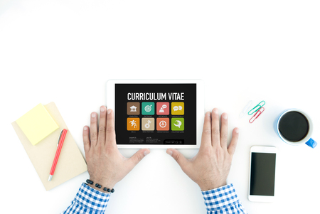 vitae: Curriculum Vitae Concept on Tablet PC Screen Stock Photo