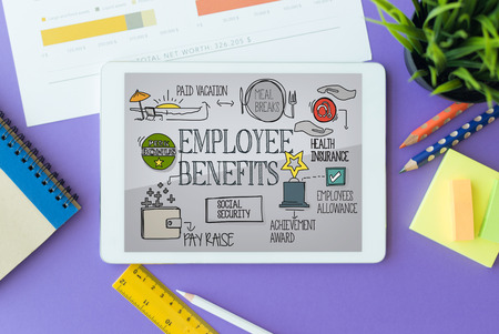 pay raise: Employee Benefits Concept on Tablet PC Screen Stock Photo