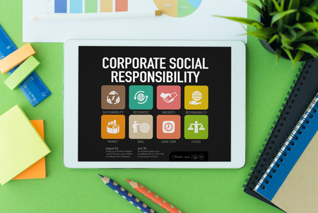 Corporate Social Responsibility Concept on Tablet PC Screen