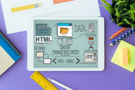 backlink: CMS Content Management System Concept on Tablet PC Screen