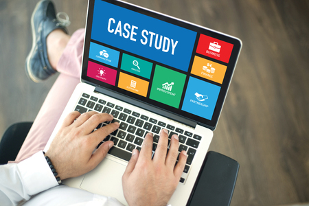 People using laptop in an office and CASE STUDY concept on screen