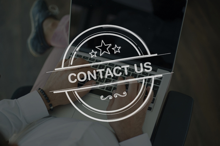 contactus: People Using Laptop and CONTACT US Concept