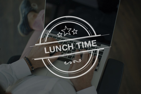 breakout: People Using Laptop and LUNCH TIME Concept