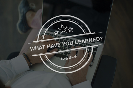 recap: People Using Laptop and WHAT HAVE YOU LEARNED? Concept Stock Photo