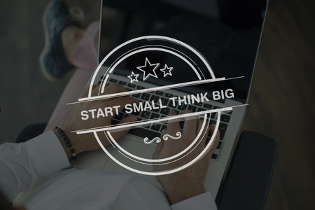 surpass: People Using Laptop and START SMALL THINK BIG Concept