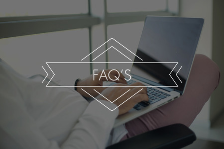 faqs: People Using Laptop and FAQS Concept
