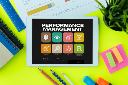 overruns: Performance Management Concept on Tablet PC Screen