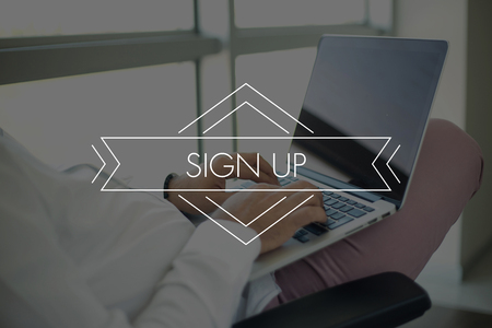 joining services: People Using Laptop and SIGN UP Concept