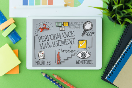 contributing: Performance Management Concept on Tablet PC Screen