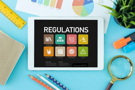 Regulations Concept op de Tablet PC-scherm