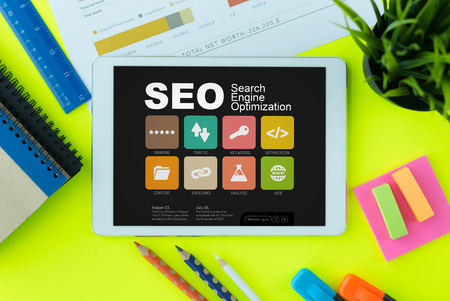 backlinks: SEO Search Engine Optimization Concept on Tablet PC Screen Stock Photo