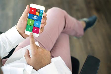 faq's: COMMUNICATION TECHNOLOGY INTERNET APP BUSINESS FAQS CONCEPT