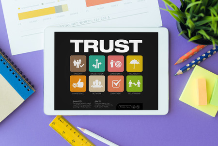 belief systems: Trust Concept on Tablet PC Screen Stock Photo