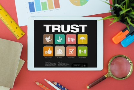 belief system: Trust Concept on Tablet PC Screen Stock Photo