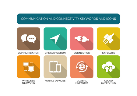 connectivity: Communication and Connectivity Flat Icon Set