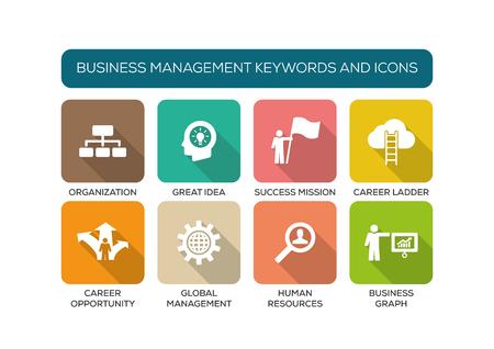 competencias laborales: Dirección de Empresas plana Icon Set