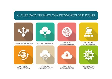 syncing: Cloud Data Technology Flat Icon Set