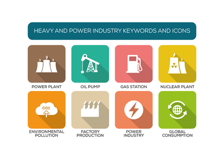 heavy: Heavy and Power Industry Flat Icon Set