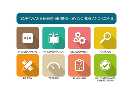Techniek Flat Icon Set Software Stock Illustratie