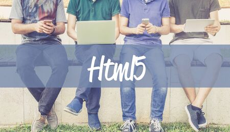 html5: Group of people using mobile devices and HTML5 concept Stock Photo