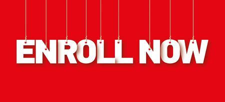 enroll: ENROLL NOW the word of the white letters hanging on the ropes on a red background