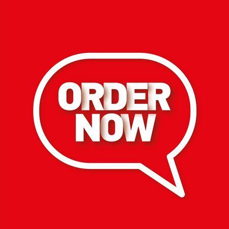 in order: Order now speech bubble