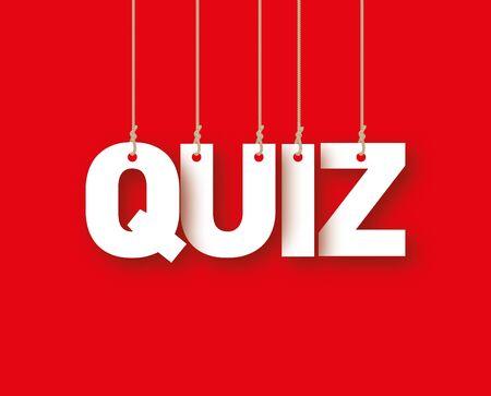 ahorcada: Cuestionario de la palabra de las letras blancas colgando de las cuerdas sobre un fondo rojo Foto de archivo