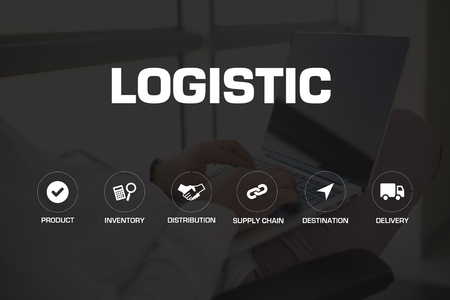 business symbol: LOGISTIC ICONS AND KEYWORDS CONCEPT