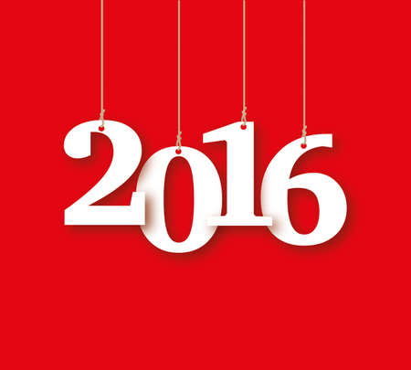 ahorcada: 2016 the word of the white letters hanging on the ropes on a red background Foto de archivo
