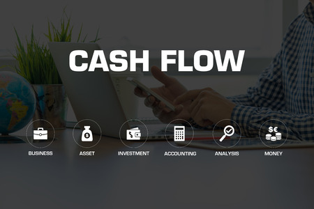 cash flow icons and keywords concept stock photo picture and