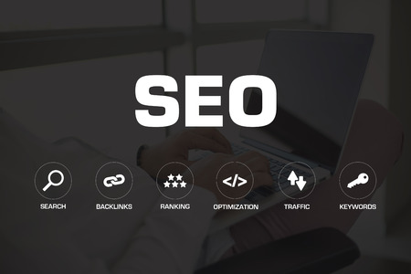 SEO ICONS AND KEYWORDS CONCEPT Stock Photo
