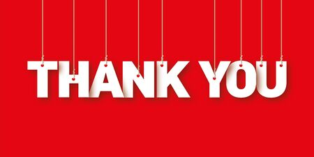 THANK YOU the word of the white letters hanging on the ropes on a red background