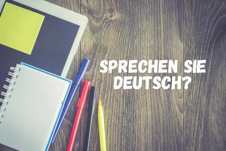 deutsch: EDUCATION STUDENT TECHNOLOGY SPRECHEN SIE DEUTSCH? CONCEPT Stock Photo