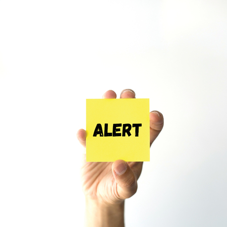 spy ware: Hand holding yellow sticky note written ALERT
