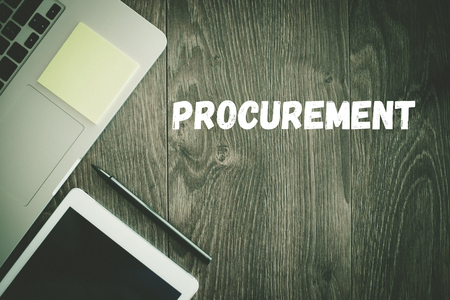 procure: BUSINESS WORKPLACE TECHNOLOGY OFFICE PROCUREMENT CONCEPT Stock Photo