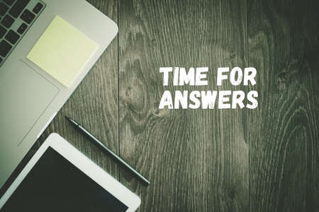 questionail: BUSINESS WORKPLACE TECHNOLOGY OFFICE TIME FOR ANSWERS CONCEPT Stock Photo