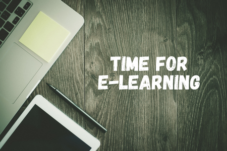 BUSINESS WORKPLACE TECHNOLOGY OFFICE TIME FOR E-LEARNING CONCEPT