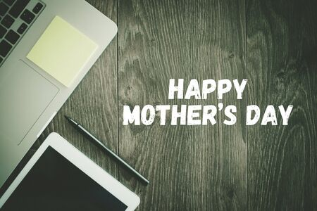mothering: TECHNOLOGY BUSINESS OFFICE COMMUNICATION HAPPY MOTHERS DAY CONCEPT Stock Photo