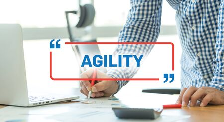 scrum: BUSINESS WORKING OFFICE BUSINESSMAN AGILITY CONCEPT Stock Photo