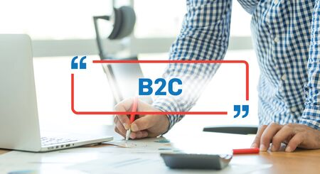 b2c: BUSINESS WORKING OFFICE BUSINESSMAN B2C CONCEPT Stock Photo
