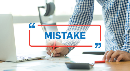 blunder: BUSINESS WORKING OFFICE BUSINESSMAN MISTAKE CONCEPT Stock Photo