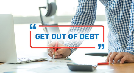 trouble free: BUSINESS WORKING OFFICE BUSINESSMAN GET OUT OF DEBT CONCEPT Stock Photo