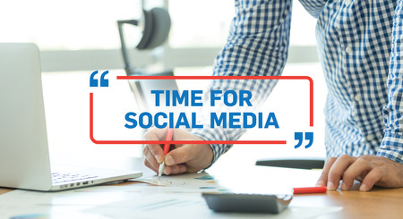 BUSINESS WORKING OFFICE BUSINESSMAN TIME FOR SOCIAL MEDIA CONCEPT Stock Photo