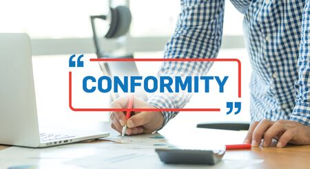 conformity: BUSINESS WORKING OFFICE BUSINESSMAN CONFORMITY CONCEPT