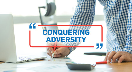 adversity: BUSINESS WORKING OFFICE BUSINESSMAN CONQUERING ADVERSITY CONCEPT