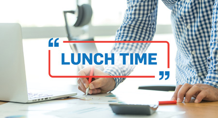 BUSINESS WORKING OFFICE BUSINESSMAN LUNCH TIME CONCEPT