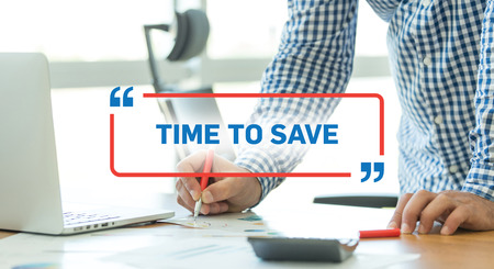 frugality: BUSINESS WORKING OFFICE BUSINESSMAN TIME TO SAVE CONCEPT Stock Photo